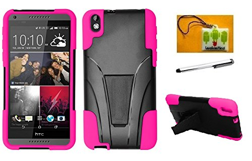 Phone Htc Snap (LF 3 in 1 Bundle - Hybrid Dual Layer Case with Stand , Lf Stylus Pen & Droid Wiper Accessory for (Virgin Mobile) HTC Desire 816 (Stand Pink))