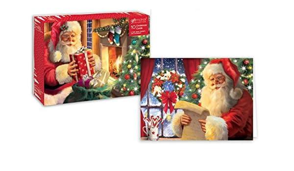 Pack de 10 tarjetas de Navidad tradicional de Papá Noel calcetín ...