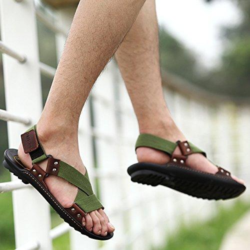 Xing Lin Sandalias De Verano Transpirable Zapatos De Hombre _ Nuevos Hombres Casual Sandalias De Playa De Hombres Transpirable Zapatos Sandalias Zapatos De Hombre Ola Army green