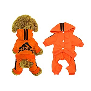 Scheppend Adidog Pet Clothes for Dog Cat Puppy Hoodies Coat Winter Sweatshirt Warm Sweater,Orange M