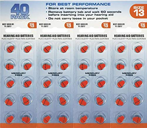 Lucid Audio Hearing Aid Batteries Size 13 Pack of 40 (Zinc Air Activated and Mercury Free)