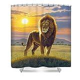 Pixels Shower Curtain (74'' x 71'') ''Lion''
