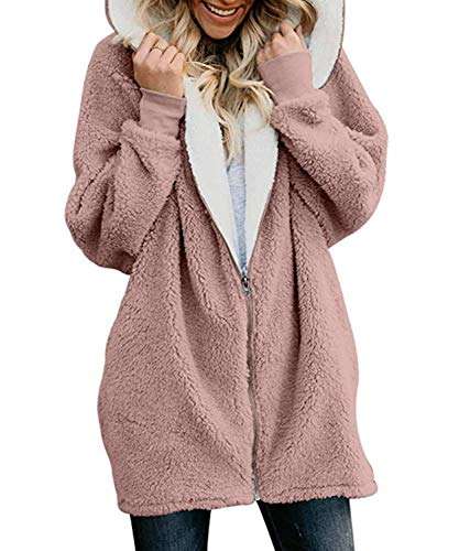 GSFANG Womens Cardigan Jacket Coat Zippers Solid Warm Fleece Faux Fur  Oversized Hoodie Outwear with Pockets 020bf53a4
