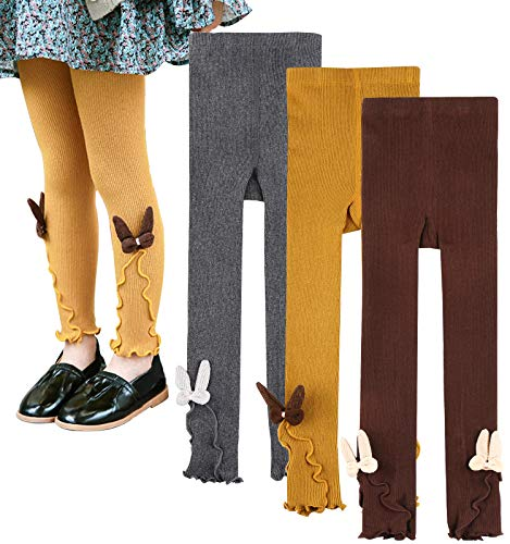 BOOPH Girls Rabbit Ears Leggings Pants Baby Toddler Knitted Footless Tights 2-4Y(Brown/Yellow/Dark Gray) ()