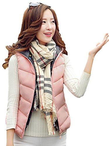 古代筋肉の骨髄レディース ダウン ベスト フード 付き 可愛い 防寒 防風 袖なし アウター リバーシブル K12751 (L, ピンク)