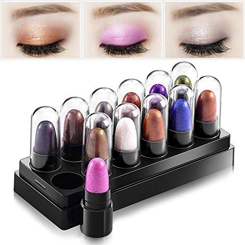 Huayang| 12Pcs/Set Waterproof Smoky Shimmer Eyeshadow Palette/ Sticks/ Pen - Eyeliner Pen for Eye Natural Foundation Makeup Party for Women