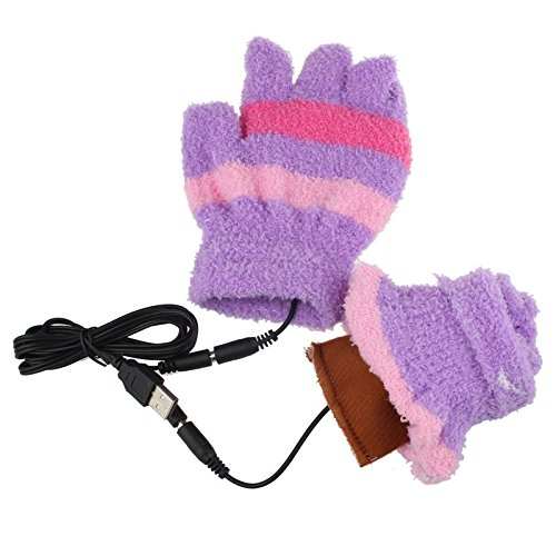 Lanhui USB Heating Winter Hand Warm Gloves Heated Fingerless Warmer Mitten (15cm x12cm, Purple)