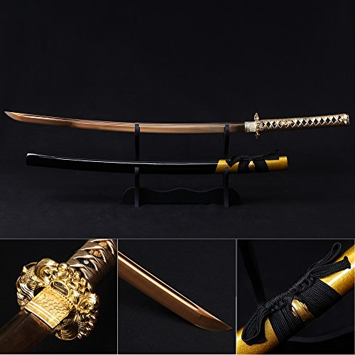 Katana Sword, Fully Handmade Real Japanese Sword 1060 High Carbon Steel Samurai Sword with Wooden Scabbard Alloy Guard (Golden)