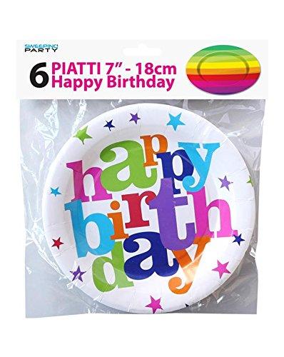girm® - 9760 - Juego de platos para cumpleaños, fondo blanco ...