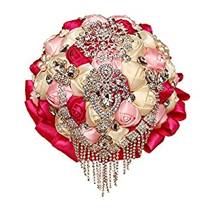 Sdcvopl Holding Flowers Wedding Bouquet,Bride Holding Flowers, Water Drops (Red + Pink + Ivory) Wedding Bride Holding Flowers 35