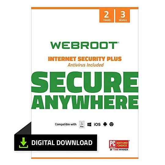 Webroot Internet Security Plus with Antivirus Software 2021 – 3 Device – Includes Android, IOS and Password Manager…