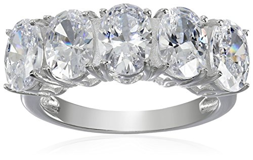 Rhodium Plated Sterling Silver Cubic Zirconia Oval Shape Five-Stone Ring (3.75 cttw), Size (Cubic Zirconia Oval Shape)