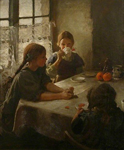Cutler Miles The Tea Party by Harold Harvey Hand Painted Oil on (Tea Party Canvas Reproduction)