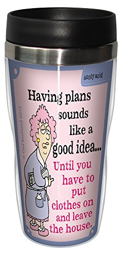 Tree-Free Greetings 16-Ounce Sip 'N Go Stainless Lined Travel Mug, Aunty Acid Put Clothes On (SG78450)