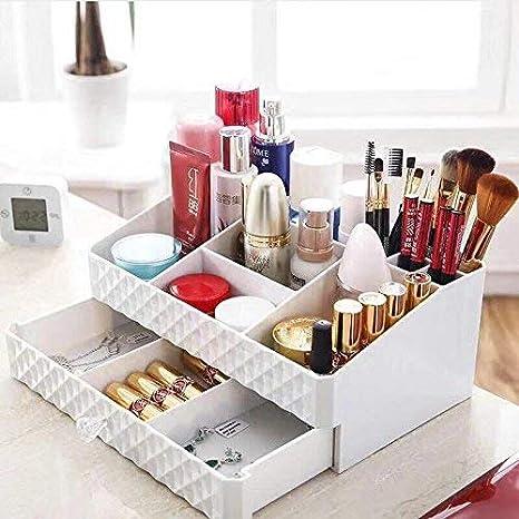 Display4top - Organizador de joyería multifunción para Maquillaje, Accesorios cosméticos, Cajas de Almacenamiento de Maquillaje, Color Blanco.