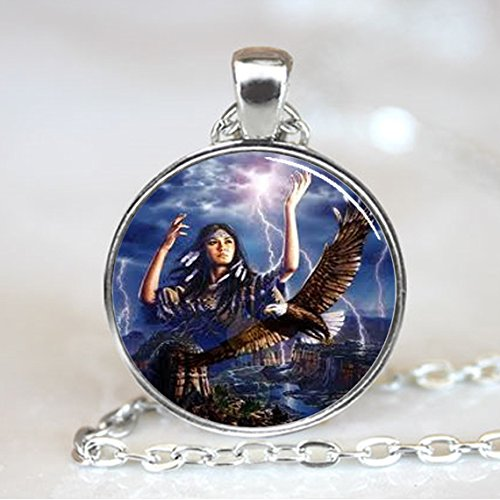 American Eagle Jewelry (Native American Woman with Eagle Glass Tile Jewelry Necklace Pendant (PD0105S))