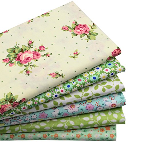 iNee 6 Fat Quarters Quilting Fabric Sewing DIY Craft Bundle,18 Inch x22 Inch - Green Floral (Quilting Fabric Sale)