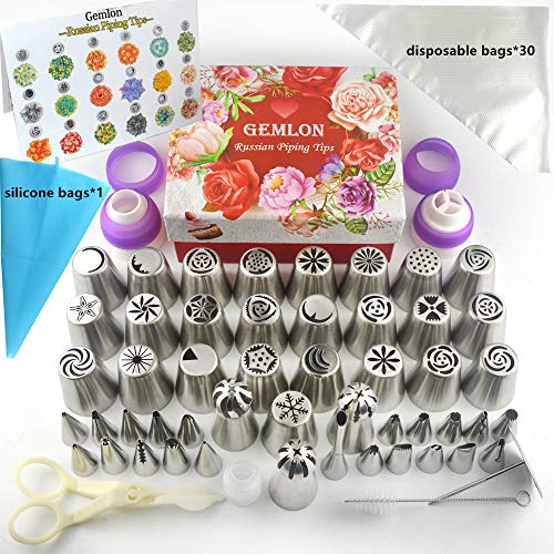 Russian Piping Tips - Cake Decorating Supplies - 88 Baking Supplies Set - 49 Icing Piping Tips - 3 Russian Ball Piping Tips, Flower Frosting Tips, Bakes Flower Nozzles-Large Cupcake Decorating Kit]()