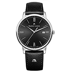 Maurice Lacroix Men's 'Eliros' Quartz Stainless Steel and Leather Casual Watch, Color:Black (Model: EL1118-SS001-310-1)