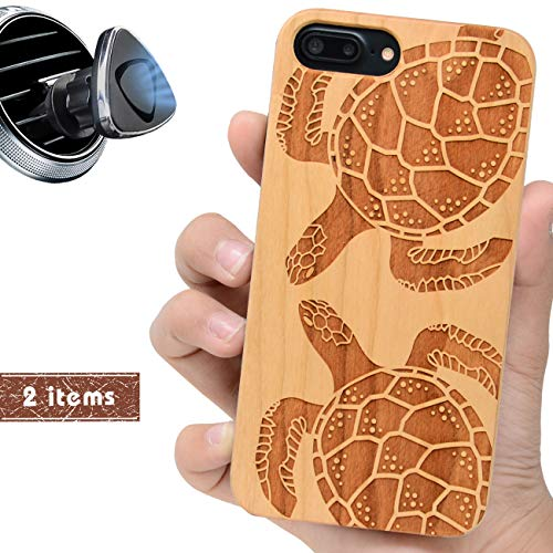 iProductsUS Wood Phone Case Compatible with iPhone 8 Plus, 7 Plus, 6 Plus (ONLY) and Magnetic Mount - Protective Cases Engraved Turtles,Built in Metal Plate,TPU Rubber Shockproof Phone Covers (5.5