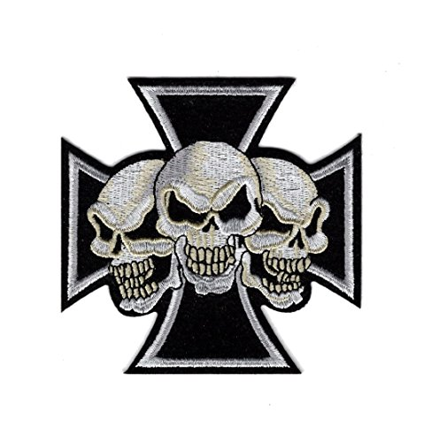 Iron Cross Maltese Chopper Three skull Iron on Jacket Vest XL Patch (MTC1) (Maltese Chopper)