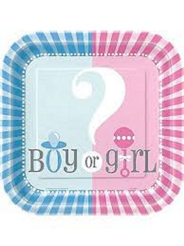 Square Gender Reveal Dinner Plates,