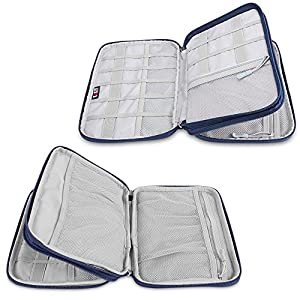 Space Saving Travel Gear Organizer, BUBM Two Layers Universal Electronics Accessories Bag with Shape Maintaining Piping Frame(2 Layers, Navy)