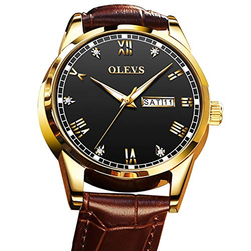 - Mens Brown Watches,Men Gold Watch Black Face,Mens Wrist Watch Leather Classic Watches,Men's Watches Day and Date,Dress Watches for Men,Mens Quartz Watch Roman Numeral Business Casual Fashion