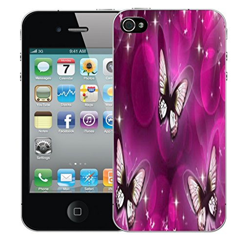 Mobile Case Mate iPhone 5s Silicone Coque couverture case cover Pare-chocs + STYLET - Whispy Butterflies pattern (SILICON)