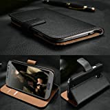 Zonewire® BLACK GENUINE REAL LEATHER WALLET CASE COVER & SCREEN PROTECTOR FOR SAMSUNG GALAXY S5
