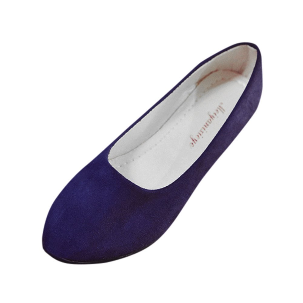 Creazrise Women Flat Shoes Comfortable Slip on Pointed Toe Ballet Flats Ladies Slip On Flat Shoes Dark Blue