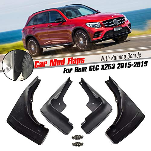 XUKEY Set Molded Mud Flaps for Mercedes-Benz GLC Class X253 C253 W/RB 2016-2019 Mudflaps Splash Guards Flap Mudguards Front Rear 4pcs ()