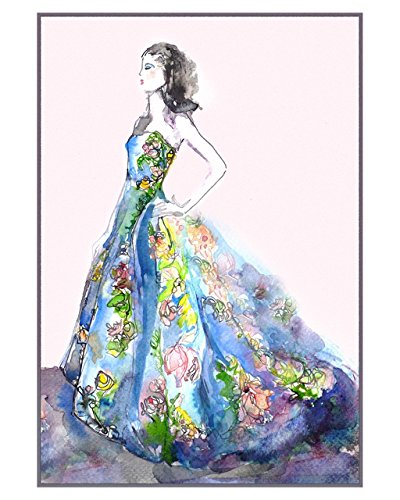 """Garden Party Fashion Illustration 8"""" x 10"""" Wall Décor Fine Art Print of Colorful Watercolor Ink Painting Carolina Herrera Flower Evening Gown by Schuyler Rideout ()"""