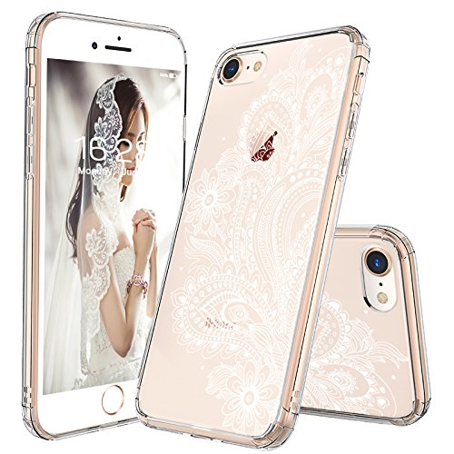 timeless design 8d559 fa621 iPhone 7 Case, iPhone 8 Case, MOSNOVO White Floral Henna Paisley Flower  Clear Design Transparent Plastic with TPU Bumper Protective Back Case Cover  ...