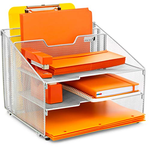 Desk Wiz Desk Organizer File Folder Holder All-in-One with Non-Slip Rubber Feet Silver Metal Mesh Office Desktop Supplies Accessories Organizer | Includes 3 Sticky Note Pads and 3 File Folders