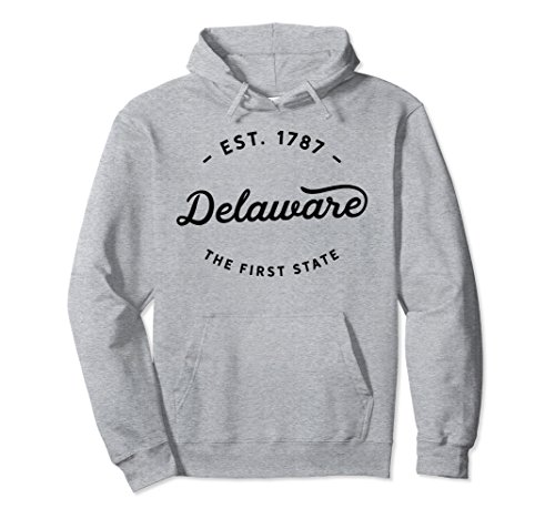 Unisex Classic Vintage Retro Delaware Est 1787 Pullover Hoodie Large Heather Grey