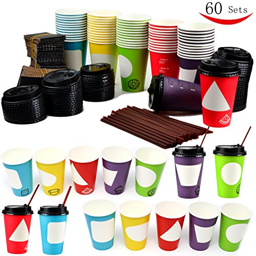 60 Coffee Cups with Lids , 12 Ounce Disposable Paper Coffee Cups with Lids , To Go Coffee Cups , Party Favor (Hot Cocoa Cups With Lids)