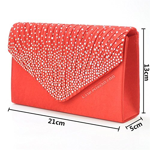 Vintage Bridal Prom Wedding Satin Wocharm Fashion 1 Women's Lace Clutch Bag Evening UK TM Bag Red 70wfPPnq