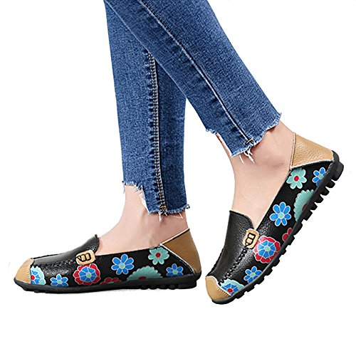 Print on Black Flat Shoes Womens Casual Floral Driving Cowhide Slip Loafer 47qxfwnEZ