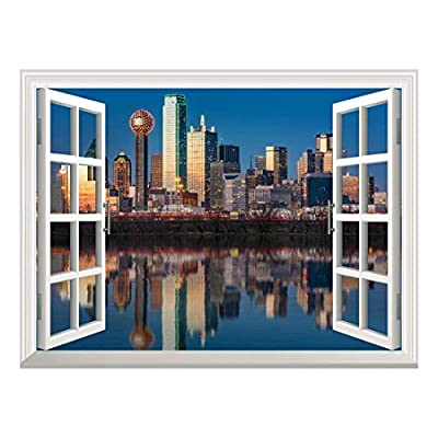 Removable Wall Sticker/Wall Mural - Dallas Skyline Reflected in Trinity River at Sunset   Creative Window View Home Decor/Wall Decor - 36