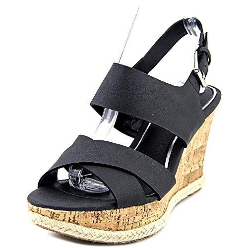 American Living Adrina Damen Kunstleder Keilabsätze Sandale Black