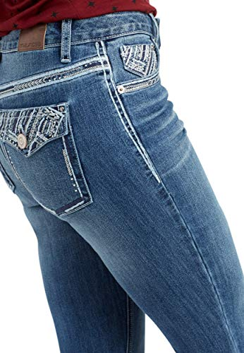 Pocket Jean Back Stud (maurices Women's Denimflex TM Bling Back Pocket Bootcut Jean 8 Medium Sandblast)
