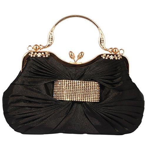 Digabi Women's Elegant Crystal Kiss Lock Evening Clutch Bags (One Size : 10x9x1.5 IN, Black)