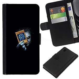 Sony Xperia Z1 L39 - Dibujo PU billetera de cuero Funda Case Caso de la piel de la bolsa protectora Para (Funny Joker Playing Poke Cards)