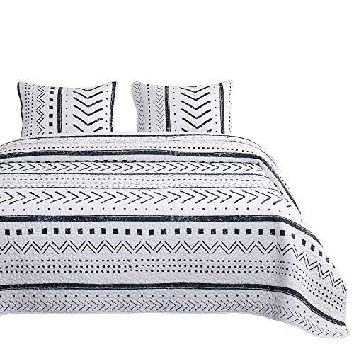 Wake In Cloud - Aztec Quilt Set, Black White Geometric Modern Pattern Printed, 100% Cotton Fabric with Soft Microfiber Inner Fill Bedspread Coverlet Bedding (3pcs, Queen Size)