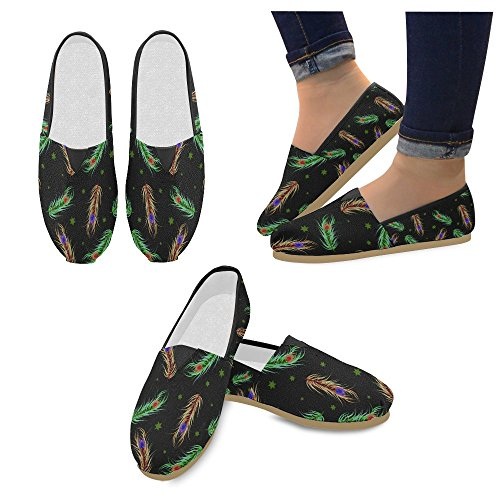 D-story Fashion Sneakers Flats Peacock Feather Mujeres Classic Slip-on Canvas Zapatos Mocasines