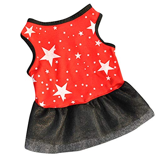 Pet Apparel,Puppy Dress Gauze Patchwork Star Pattern Print Tank Top Comfy Costume Clothes for Small Dog,Cats (L, Red) -