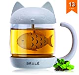 cat cup lid - Brulé Premium Glass Cat Tea Cup With Fish Infuser Filter & Lid - Unique Loose Leaf Strainer Mug Brewing & Steeping System - Great Gift For Cat Lovers - Bonus Herbal Green Tea Recipe Included!