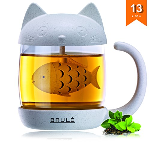 Spearmint Cool 12 Boxes (Brulé Premium Glass Cat Tea Cup With Fish Infuser Filter & Lid - Unique Loose Leaf Strainer Mug Brewing & Steeping System - Great Gift For Cat Lovers - Bonus Herbal Green Tea Recipe Included!)