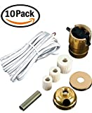 Pack of 10 Lamp Kits - Make A Lamp Wiring Kits for Wine, Oil, Liquor Bottle Lamp Conversion or Lamp Restoration DIY Repair, Unique Side Exit Socket Cap No Drilling Required